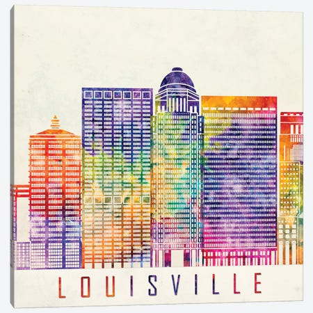Louisville Landmarks Watercolor Poster Canvas Print #PUR434} by Paul Rommer Canvas Artwork