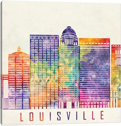 Louisville Landmarks Watercolor Poster Canvas Art Print