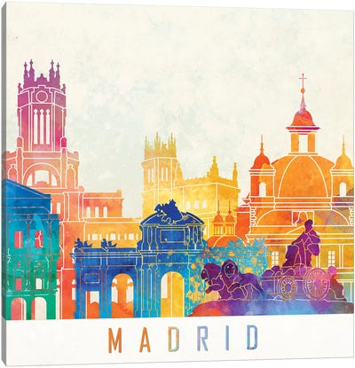 Madrid Landmarks Watercolor Poster Canvas Art Print
