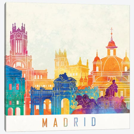 Madrid Landmarks Watercolor Poster Canvas Print #PUR437} by Paul Rommer Canvas Wall Art