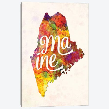 Maine US State In Watercolor Text Cut Out Canvas Print #PUR439} by Paul Rommer Art Print