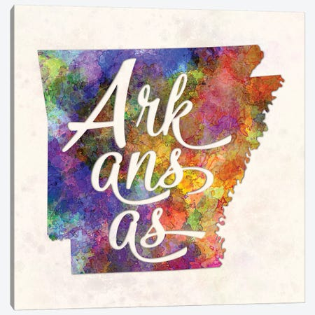 Arkansas US State In Watercolor Text Cut Out Canvas Print #PUR43} by Paul Rommer Canvas Artwork