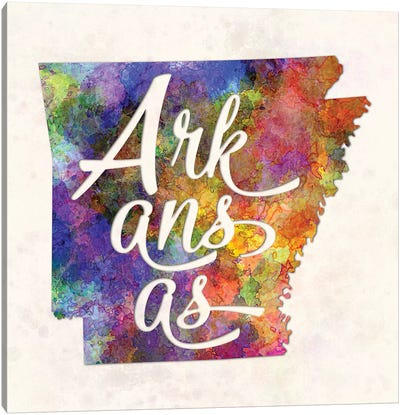 Arkansas US State In Watercolor Text Cut Out Canvas Art Print