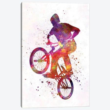 Man Bmx Acrobatic Figure In Watercolor Canvas Print #PUR443} by Paul Rommer Canvas Artwork