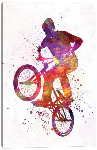 Man Bmx Acrobatic Figure In Watercolor Canvas Art Print