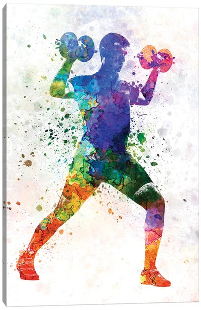 Man Exercising Weight Training Canvas Art Print