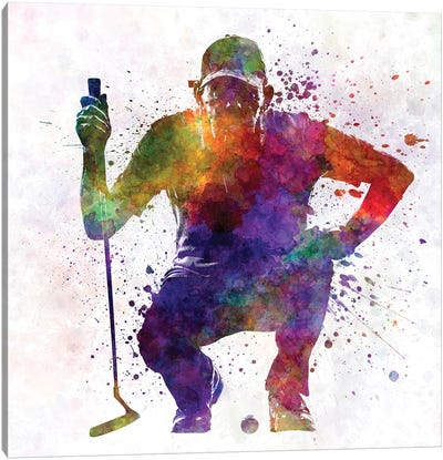 Golfer Crouching Silhouette I Canvas Art Print