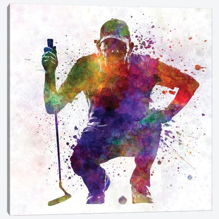 Golfer Crouching Silhouette I 3-Piece Canvas #PUR448} by Paul Rommer Canvas Artwork