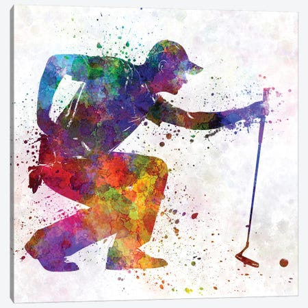 Golfer Crouching Silhouette II Canvas Print #PUR449} by Paul Rommer Canvas Artwork