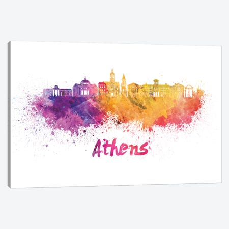 Athens Ga Skyline In Watercolor Canvas Print #PUR44} by Paul Rommer Canvas Print