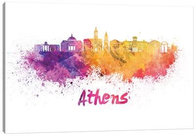 Athens Ga Skyline In Watercolor Canvas Art Print