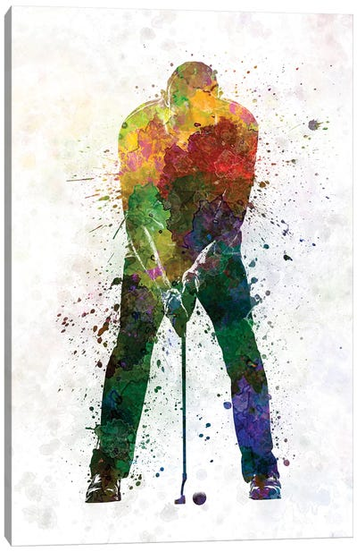 Golfer Putting Silhouette Canvas Art Print