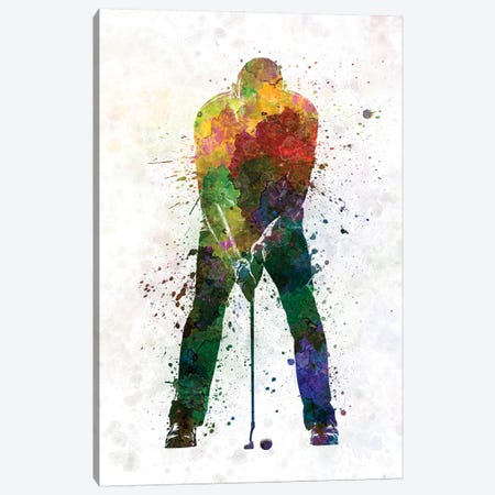Golfer Putting Silhouette 3-Piece Canvas #PUR450} by Paul Rommer Canvas Print