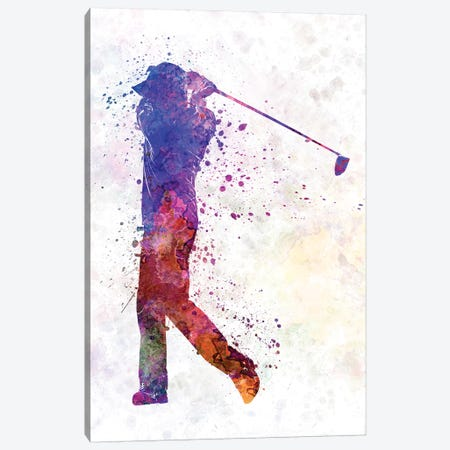 Golfer Swing Silhouette 3-Piece Canvas #PUR451} by Paul Rommer Canvas Art Print