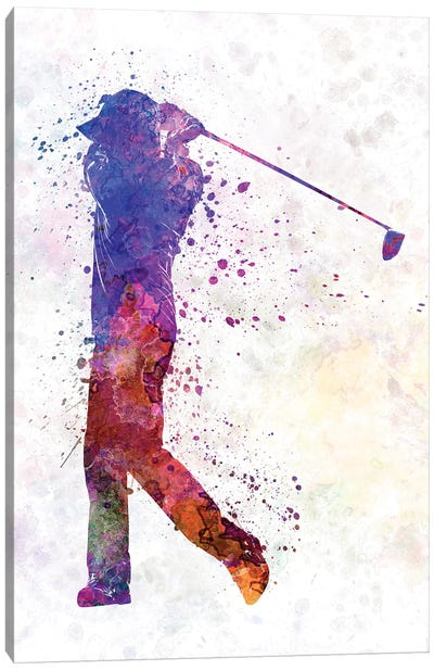 Golfer Swing Silhouette Canvas Art Print