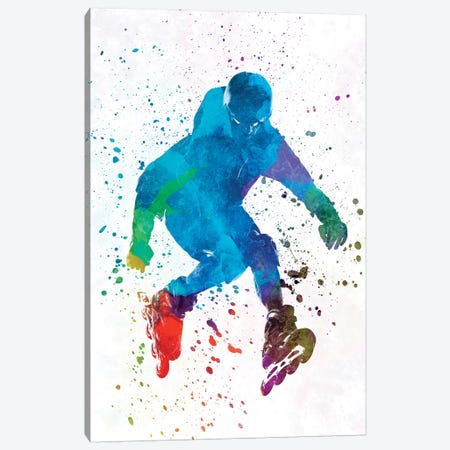 Man Roller Skater Inline In Watercolor I Canvas Print #PUR452} by Paul Rommer Art Print