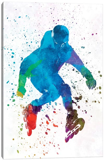 Man Roller Skater Inline In Watercolor I Canvas Art Print