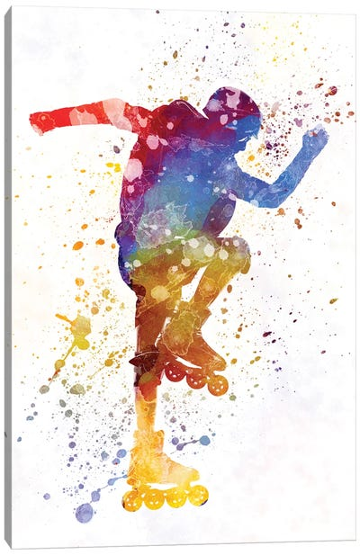 Man Roller Skater Inline In Watercolor II Canvas Art Print