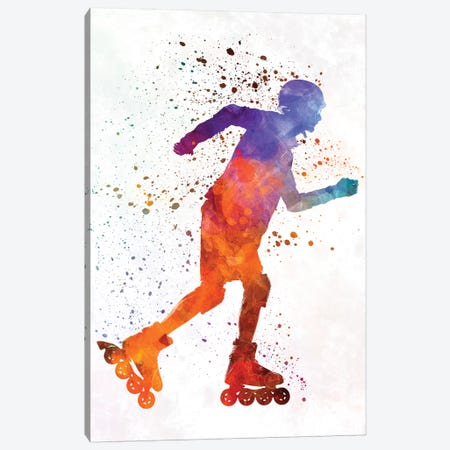 Man Roller Skater Inline In Watercolor III Canvas Print #PUR454} by Paul Rommer Canvas Artwork