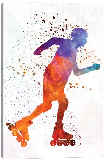 Man Roller Skater Inline In Watercolor III Canvas Art Print