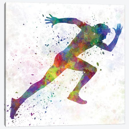 Man Running Sprinting Jogging I Canvas Print #PUR455} by Paul Rommer Canvas Wall Art