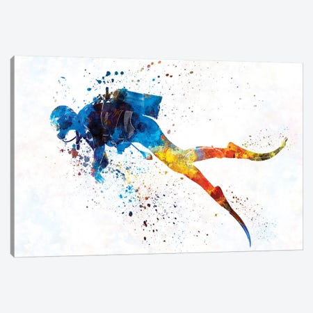Scuba Diver In Watercolor I Canvas Print #PUR457} by Paul Rommer Canvas Art