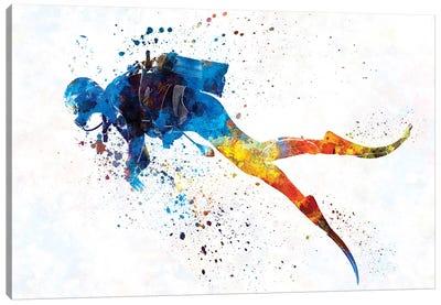 Scuba Diver In Watercolor I Canvas Art Print