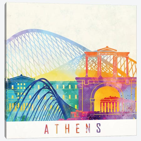Athens Landmarks Watercolor Poster Canvas Print #PUR45} by Paul Rommer Canvas Art Print