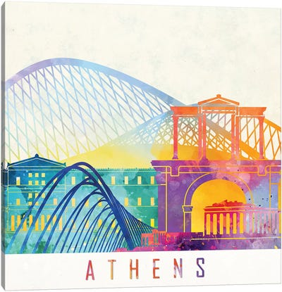 Athens Landmarks Watercolor Poster Canvas Art Print