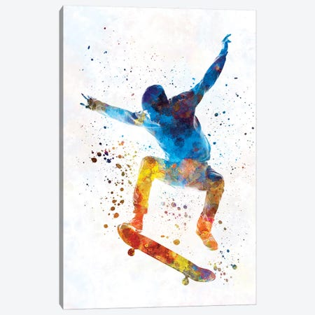 Skateboarder In Watercolor I Canvas Print #PUR461} by Paul Rommer Canvas Wall Art