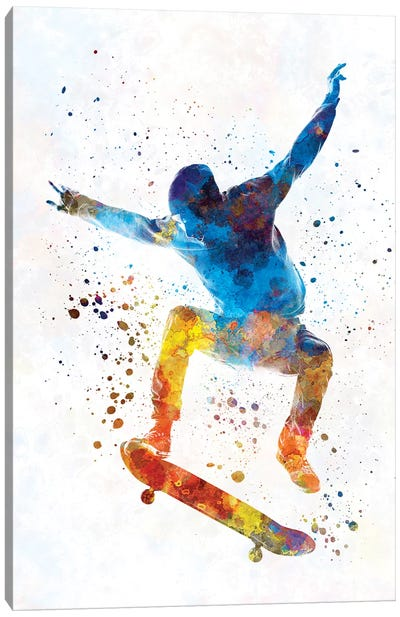 Skateboarder In Watercolor I Canvas Art Print