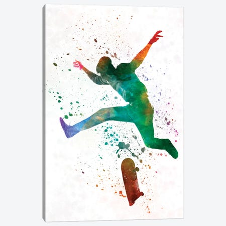 Skateboarder In Watercolor II Canvas Print #PUR462} by Paul Rommer Canvas Art