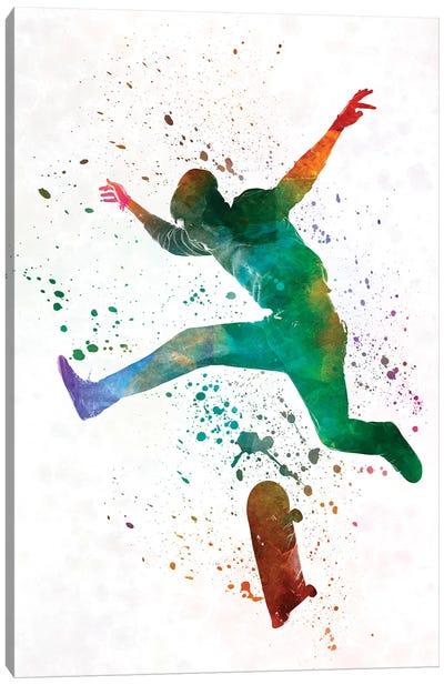 Skateboarder In Watercolor II Canvas Art Print