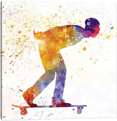 Skateboarder In Watercolor III Canvas Art Print