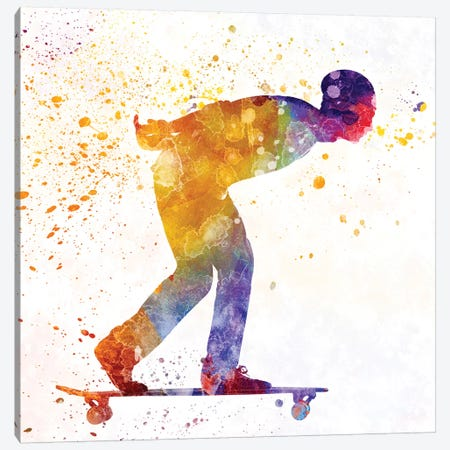 Skateboarder In Watercolor III Canvas Print #PUR463} by Paul Rommer Canvas Art