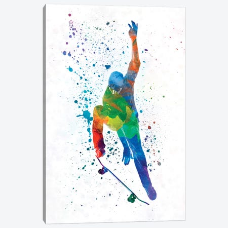 Skateboarder In Watercolor IV Canvas Print #PUR464} by Paul Rommer Canvas Print
