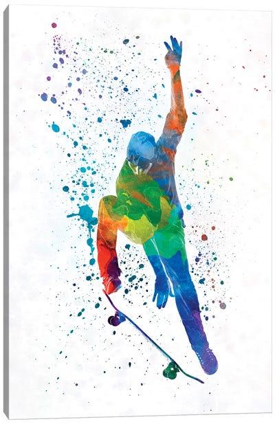 Skateboarder In Watercolor IV Canvas Art Print