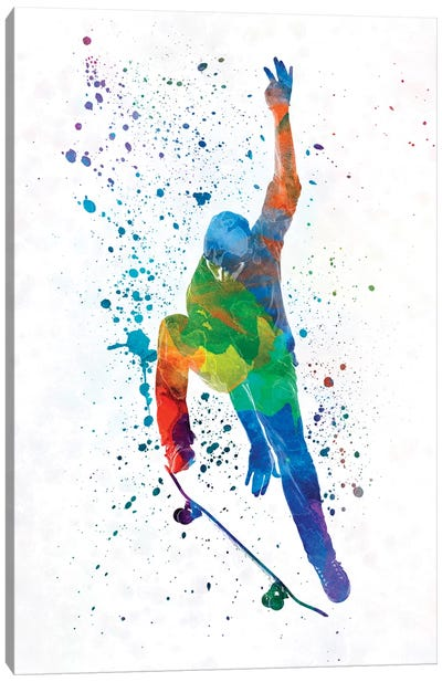 Skateboarder In Watercolor IV Canvas Art Print