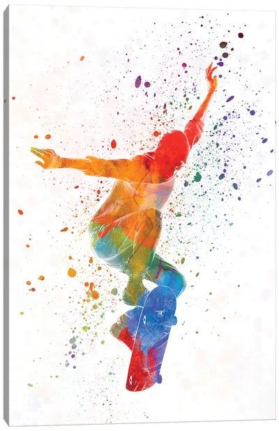 Skateboarder In Watercolor V Canvas Art Print