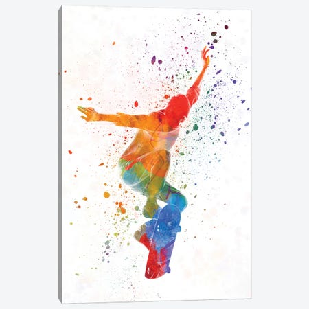 Skateboarder In Watercolor V Canvas Print #PUR465} by Paul Rommer Canvas Print
