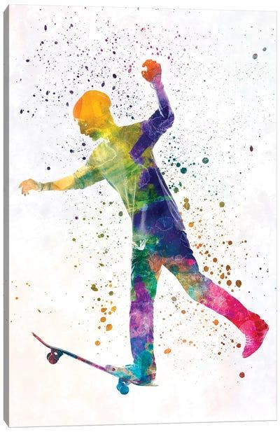 Skateboarder In Watercolor VI Canvas Art Print