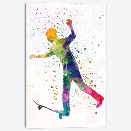 Skateboarder In Watercolor VI Canvas Print #PUR466} by Paul Rommer Canvas Print