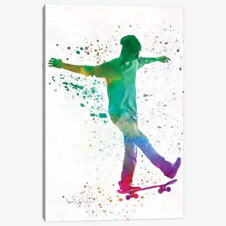 Skateboarder In Watercolor VII Canvas Print #PUR467} by Paul Rommer Canvas Art Print