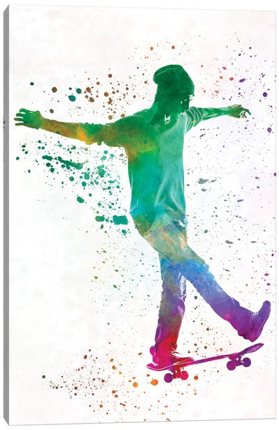 Skateboarder In Watercolor VII Canvas Art Print