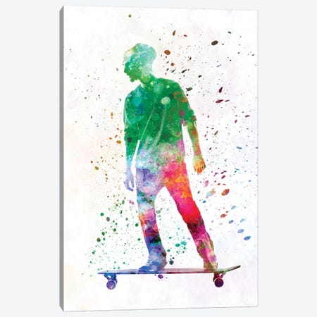 Skateboarder In Watercolor VIII Canvas Print #PUR468} by Paul Rommer Canvas Artwork
