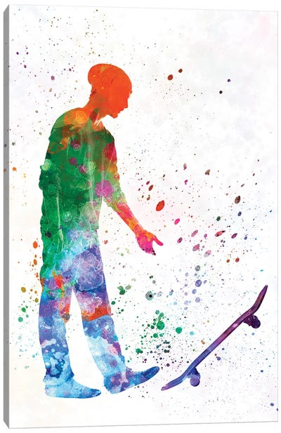 Skateboarder In Watercolor IX Canvas Art Print