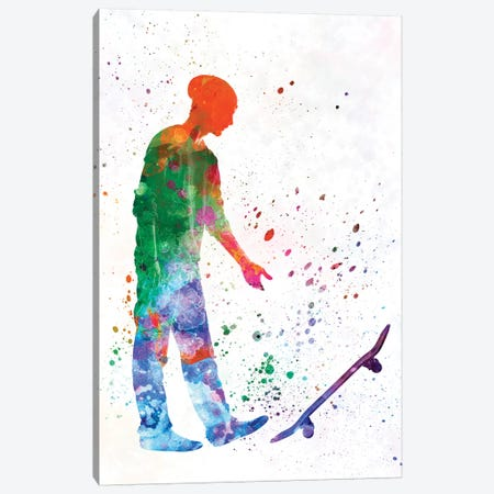 Skateboarder In Watercolor IX Canvas Print #PUR469} by Paul Rommer Canvas Artwork