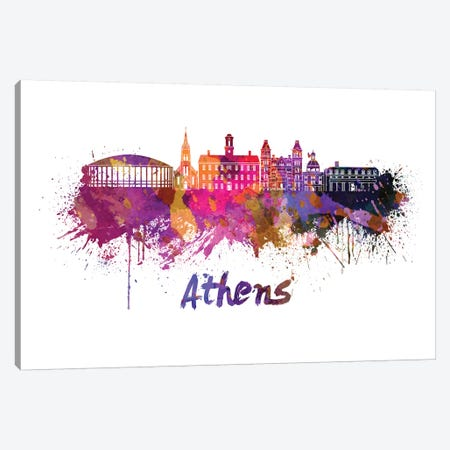 Athens Oh Skyline In Watercolor Canvas Print #PUR46} by Paul Rommer Art Print