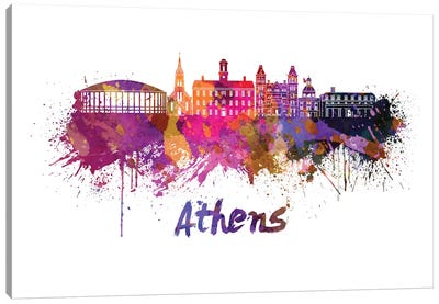 Athens Oh Skyline In Watercolor Canvas Art Print