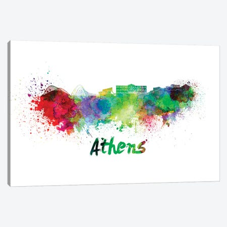 Athens Skyline In Watercolor Canvas Print #PUR47} by Paul Rommer Canvas Print